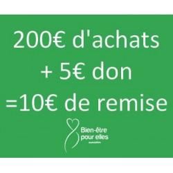 Remise 5€ + 5€ de don à...